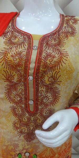 Yellow & Red Color Designer Digital Print Goergette Suit