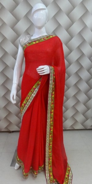 English Red Color Saree