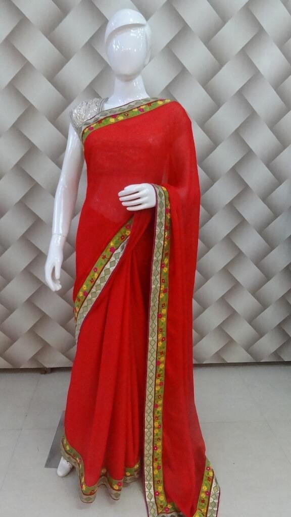 English Red Color Saree  1