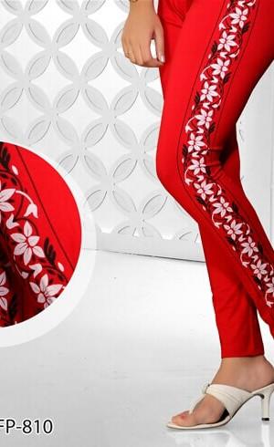 Rusty Color Side Printed Legging Cotton 4 Way Lycra