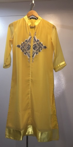 Beautiful Yellow Goergette Kurtie With Zarken Work