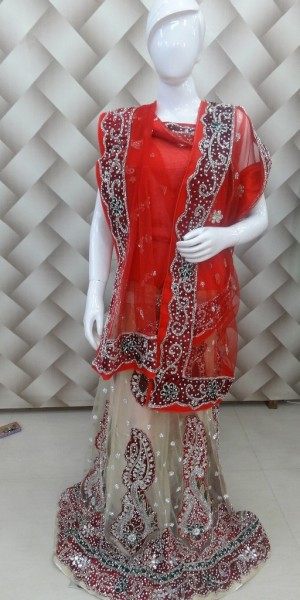 Designer cream and red lehanga