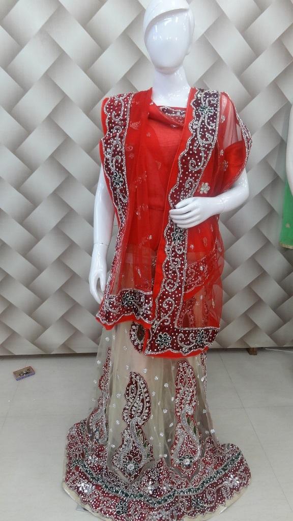Designer cream and red lehanga 1