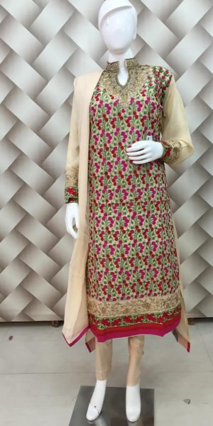 Beige Color jaal Pattern Thread Work Heavy zarkan ban neck