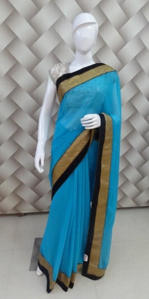 Firozi Color Designer Saree
