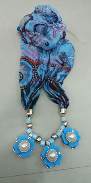 Lovely Blue Jewelry Necklace Scarf