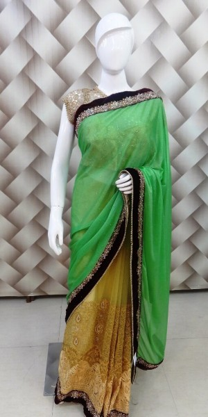 Ocean Green - Golden Saree