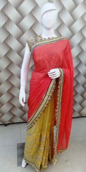 Girly Peach Saree