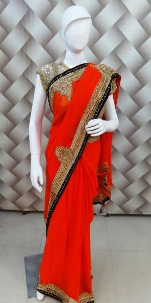 Mesmerizing Orange Saree