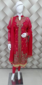 Glamerous Red And Golden Suit
