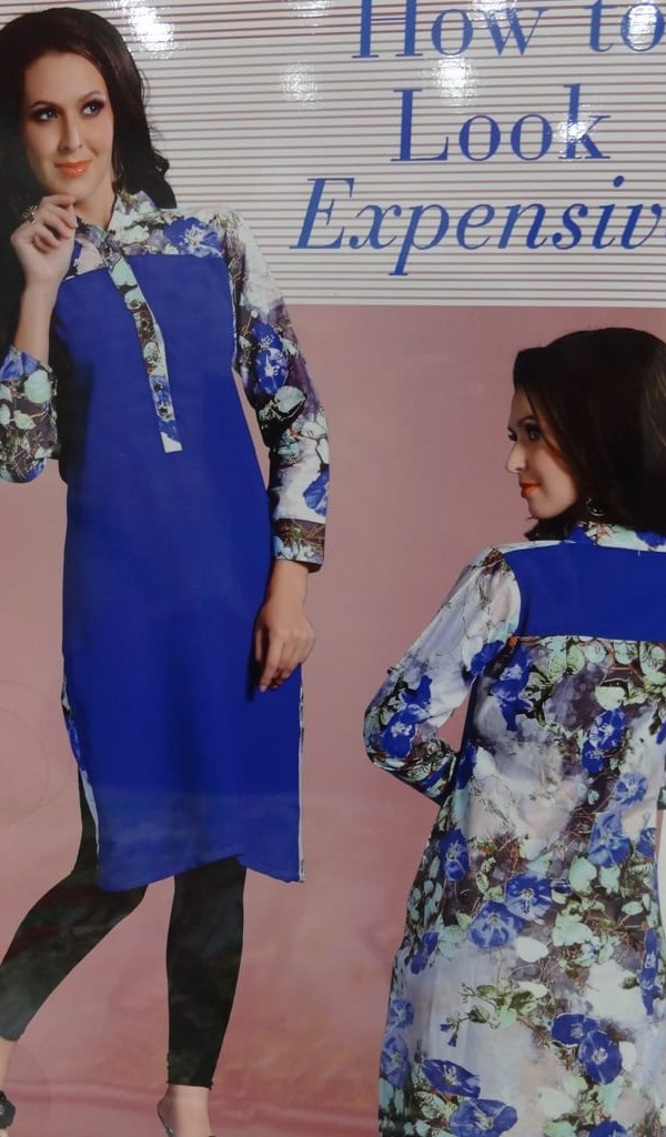 Lovely Kurtie of Blue Color Back & Front Printed 1