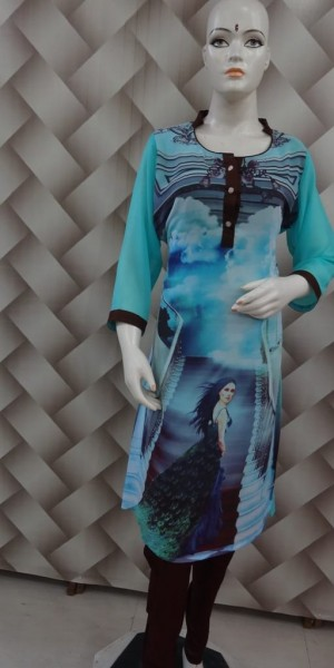 Exclusive Kurtie of Sky Color With Digital Print
