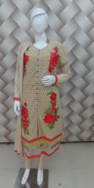 Beige & Red Color Suit of beautiful thread Work