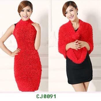 Red Color Fancy Woolen Stole 1