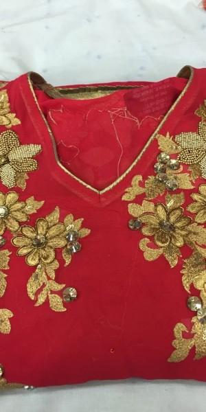 Beautiful rani Color Zari & pearl Work Suit