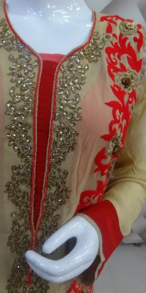 Exclusive Beige & Red Suit