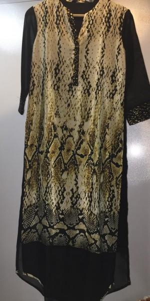 Black Color Goergette Kurtie With Snake Print