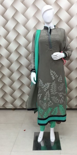 Brown Color Thread Work Suit