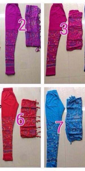 Bandhej Print Legging With Stall In  Red, Light Pink, Purple, Mehroon, Sky Blue, Blue, Black, Dark Pink