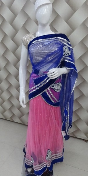 Lehenga Style Blue Pink Saree