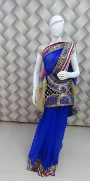 Designer Royal Blue Saree