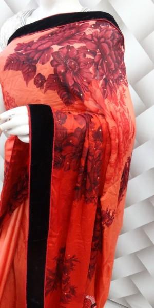 Blossom Red Printed Saree