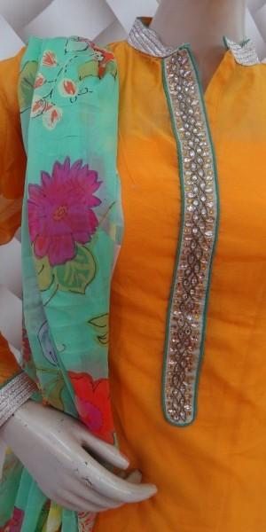 Decent Orange & Sea Green Chanderi Suit
