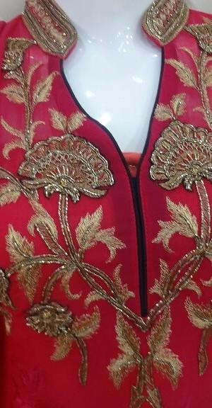 Goergette Stuff Rani Color having thread & zarkan Work