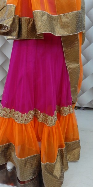Designer Lehenga orange and yellow