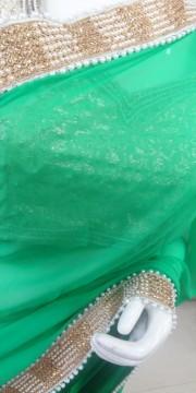 Light Green Faux Goergette Saree