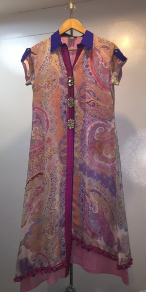 Goergette Kurtie With Digital Print, Ban Collor With Front Cut