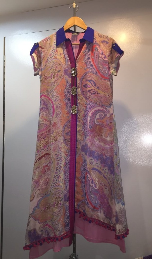 Goergette Kurtie With Digital Print, Ban Collor With Front Cut 1