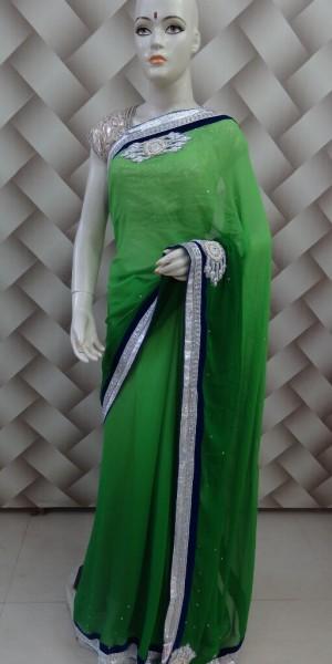 Printed Border Saree in Paris Green