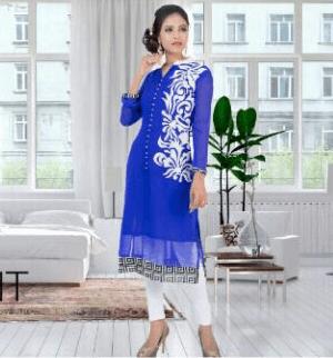 Gorgeous Girlish Blue Color Suit