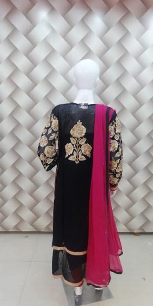 Black & Rani Color goergette Suit