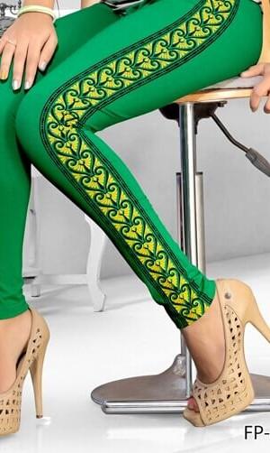 Green Color Side Printed Legging Cotton 4Way Lycra