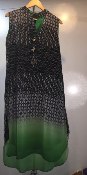 Black, Grey & Green Color Kurtie With Ban Collor