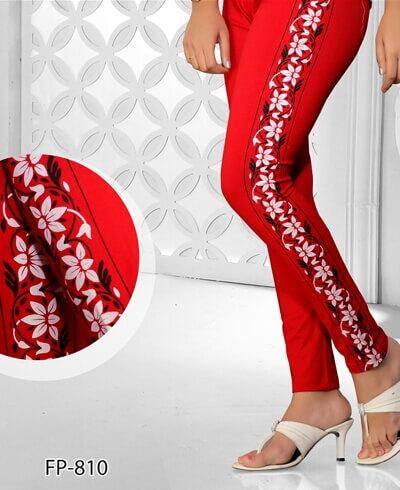 Rusty Color Side Printed Legging Cotton 4 Way Lycra 1