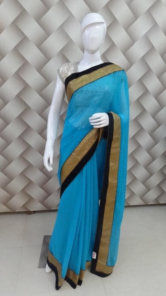 Firozi Color Designer Saree  1
