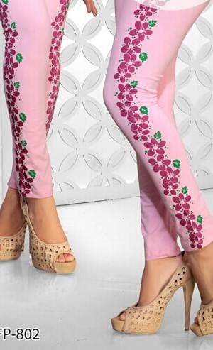 Light Pink Color Side Prited Legging Cotton 4 Way Lycra