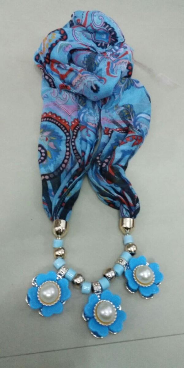 Lovely Blue Jewelry Necklace Scarf  1